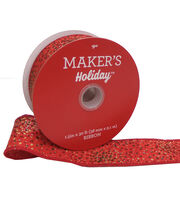 Maker's Holiday Christmas Ribbon 1.5''x30'-Sparkle on Red, , hi-res
