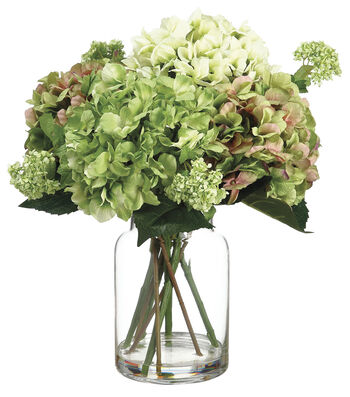Bloom Room Luxe 19'' Hydrangea Snowball In Glass-Green