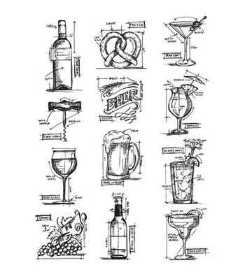 Stampers Anonymous Tim Holtz Cling Mount Rubber Stamp-Mini Blueprints