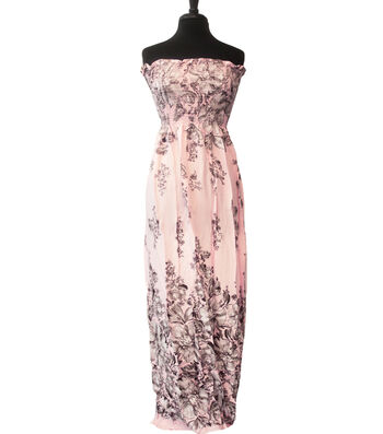 """Style In An Instant Rayon Challis Smocked Fabric 53""""-Light Pink Floral"""