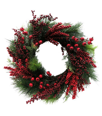 Blooming Holiday Christmas Traditional Pine & Berry Wreath-Green & Red