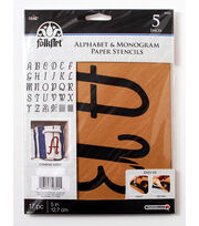 FolkArt® Alphabet & Monogram Paper Stencils - Italic, 5 inch, , hi-res