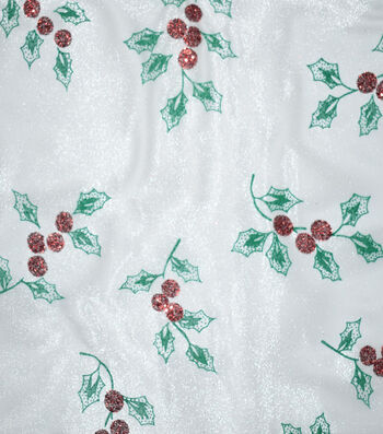 """Sew Sweet Glitter Organza Holly Fabric 58""""-Red & Green"""