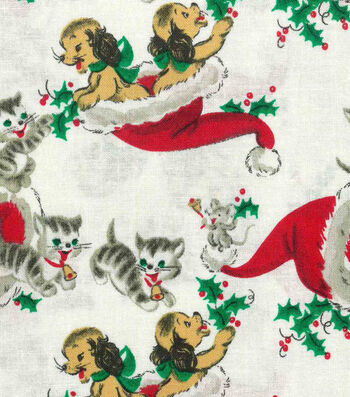 "Christmas Cotton Fabric 43""-Vintage Holiday Kittens"