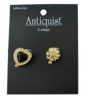 hildie & jo™ Antiquist Heart & Flower Gold Clasps-Pearl & Beads, , hi-res