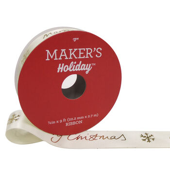 Maker's Holiday Christmas Ribbon 7/8''X9'-Gold Merry Christmas on White