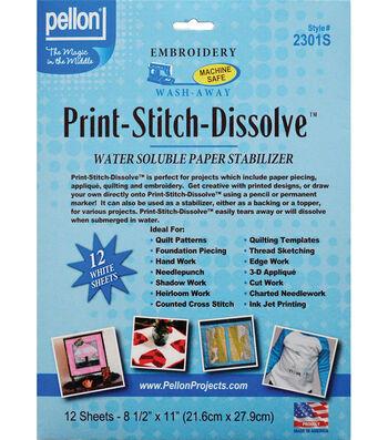 "Print-Stitch-Dissolve Embroidery Paper Stabilizer-White 8.5""X11"""