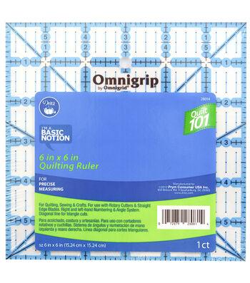 """Omnigrid Omnigrip 6""""x6"""" Quilt 101 Ruler"""