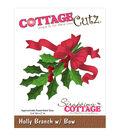 CottageCutz Die-Holly Branch 2/Bow 2.4\u0022X2\u0022
