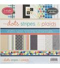 DCWV 12\u0022x12\u0022 Premium Cardstock Stack - Dots, Stripes&Plaids