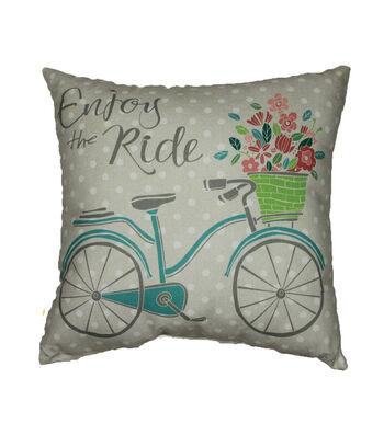 Hello Spring Solarium Pillow-Bicycle & Enjoy The Ride