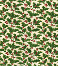 Maker\u0027s Holiday Cotton Print Fabric 44\u0027\u0027-Holly