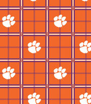 "Clemson University Tigers Flannel Fabric 42""-Plaid, , hi-res"