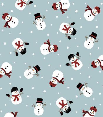 "Anti-Pill Fleece Fabric 58""-Falling Snowmen"
