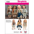 Simplicity Pattern 1392OS One Size -Crafts Doll Clothes