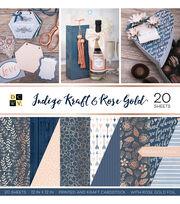 DCWV Premium Stack Printed & Kraft Cardstock-Indigo Kraft & Rose Gold, , hi-res