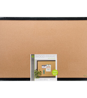 "U Brands 35""X23"" Cork Bulletin Board With Black Wood Frame"