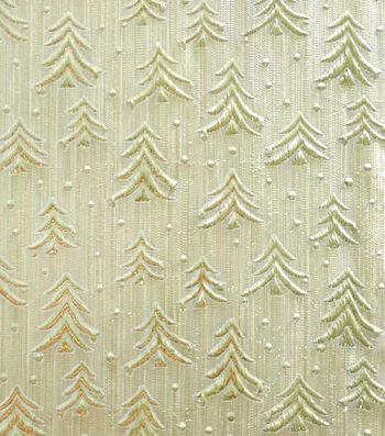 """Sew Sweet Embossed Tree Lame Decorating Fabric 58""""-Gold"""