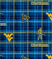 "West Virginia University Mountaineers Cotton Fabric 44""-Plaid, , hi-res"