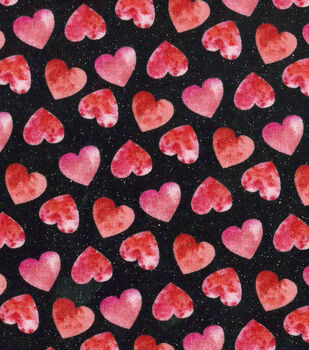 valentines day glitter fabric 43 black with watercolor hearts