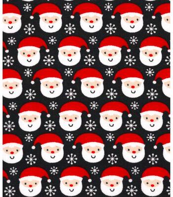Holiday Showcase™ Christmas Cotton Fabric 43''-Ditsy Santa & Snowflakes on Black