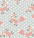 Nursery Flannel Fabric 42\u0027\u0027-Fox on Dots