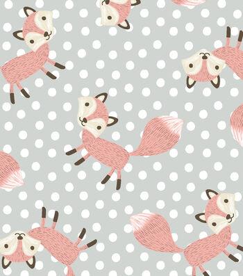 Nursery Flannel Fabric 42''-Fox on Dots