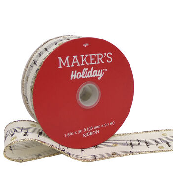 Maker's Holiday Christmas Ribbon 1.5''X30'-Music Notes on Ivory