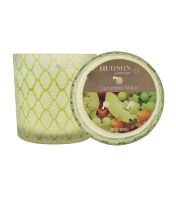Hudson 43™ Candle & Light Collection 19oz Patterned Glass Cucumber Melon