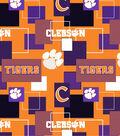 Clemson University Tigers Cotton Fabric 43\u0027\u0027-Modern Block