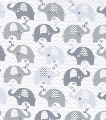 "Nursery Cotton Fabric 43""-Grey Dream Chevron Elephant"