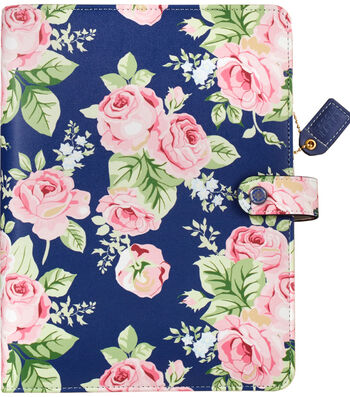 """A5 Faux Leather 6-Ring Planner Binder 7.5""""X10""""-Navy Floral"""