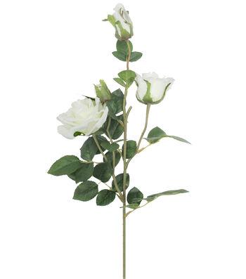 Fresh Picked Spring 30'' Rose Spray with Bud-White