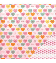 American Crafts Valentine Candy Hearts Double-Sided Cardstock, , hi-res