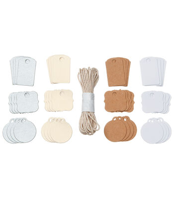 Core'dinations Tags:  Mini Asst Colors with String; 48 pack