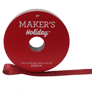 Maker's Holiday Christmas Glitter Ribbon 3/8''x9'-Red