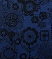 "Alexander Henry Cotton Fabric 44""-Wild Flower Indigo Black, , hi-res"