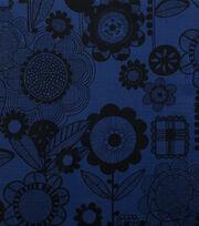 """Alexander Henry Cotton Fabric 44""""-Wild Flower Indigo Black, , hi-res"""