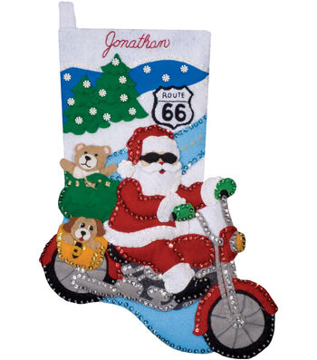 "Route 66 Stocking Felt Applique Kit 16"" Long"
