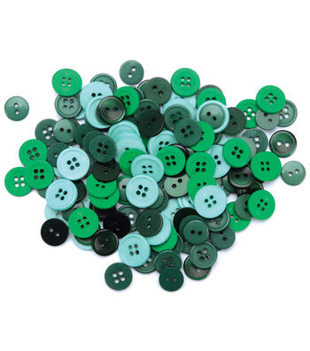 Favorite Findings Basic Buttons Assorted Sizes-Green 130/pkg
