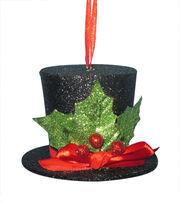 Maker's Holiday Christmas Whimsy Workshop Glitter Top Hat Ornament-Black, , hi-res