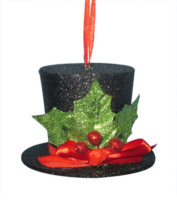 Maker's Holiday Christmas Whimsy Workshop Glitter Top Hat Ornament-Black