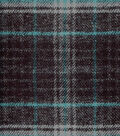 Plaid Brush Cotton Fabric 44\u0022-Teal & Gray