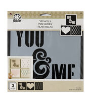 "FolkArt® 8""x8"" Craft Stencil Value Pack 3pk-You & Me, , hi-res"