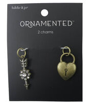 hildie & jo™ Ornamented Heart Lock & Jeweled Arrow Charms, , hi-res
