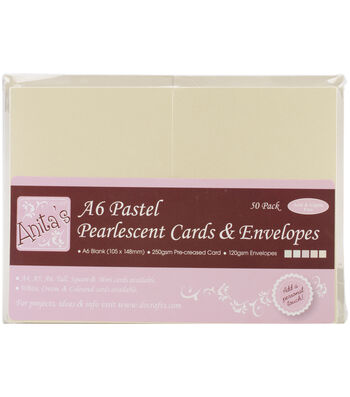 Pearlescent Cards/Envelopes A6 -Pastel Ivory, Ecru, Pink, Peach & Green