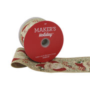 Maker's Holiday Christmas Ribbon 2.5''x25'-Santa on Natural, , hi-res