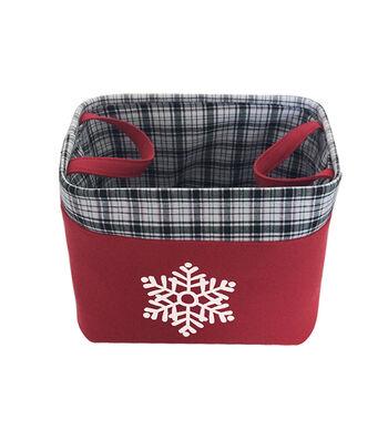 Maker's Holiday Christmas Small Red Basket-Plaid & Snowflake