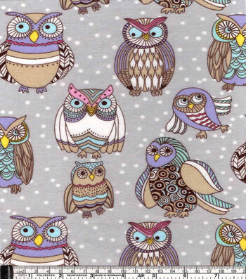 "Snuggle Flannel Fabric 42""-Colorful Owl Friends"