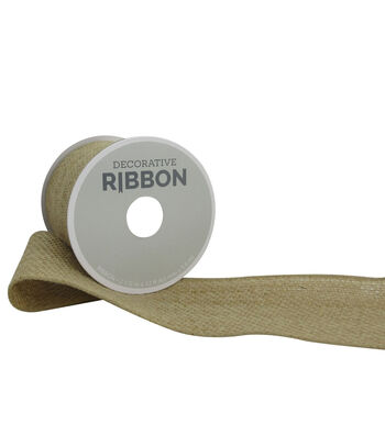 "Decorative Ribbon 2.5"" Solid Burlap Ribbon-Natural"